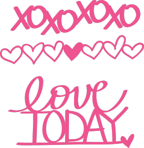 Free Love Today & XO Word Art PNGs