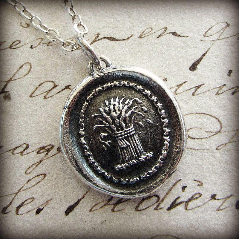 Prosperity Wax Seal Necklace Wheat Sheaf A Symbol For Prosperity