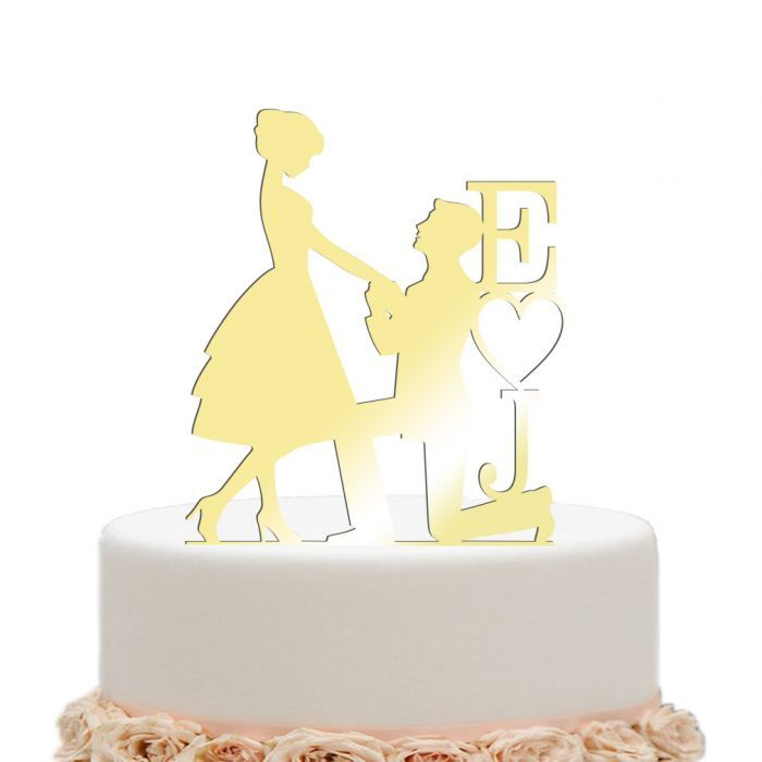 Mirror Gold Wedding Cake Toppers Engagement Bride And Groom Heart ...