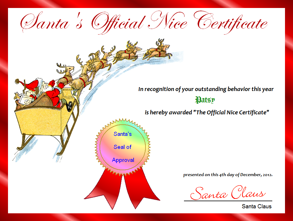 Free Printable SantaS Official Nice Certificate For Christmas