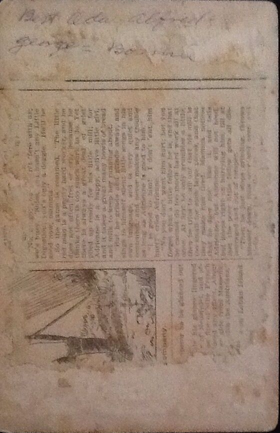 Album 2. Back of Bert, Oda, Alfred, George & Bonnie Firebaugh's photo with part of a story from newspaper?.