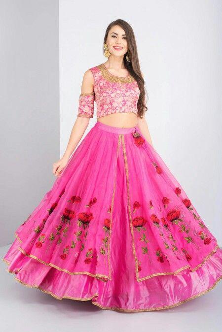 eeb80816fe NITYA BAJAJ - pink cold shoulder style crop top and skirt New Lehenga Design,  Lehenga