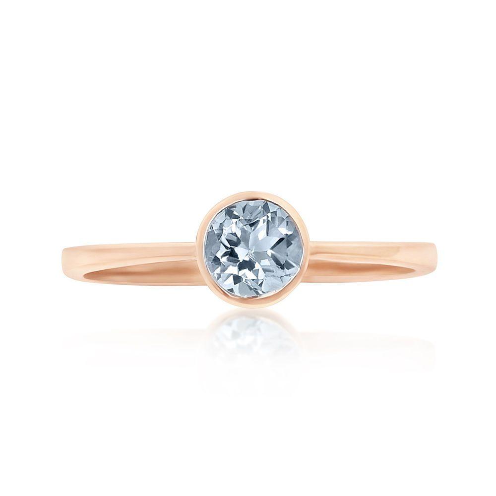 Details About 9ct Rose Gold 5mm Aquamarine Stacking Ring Uk