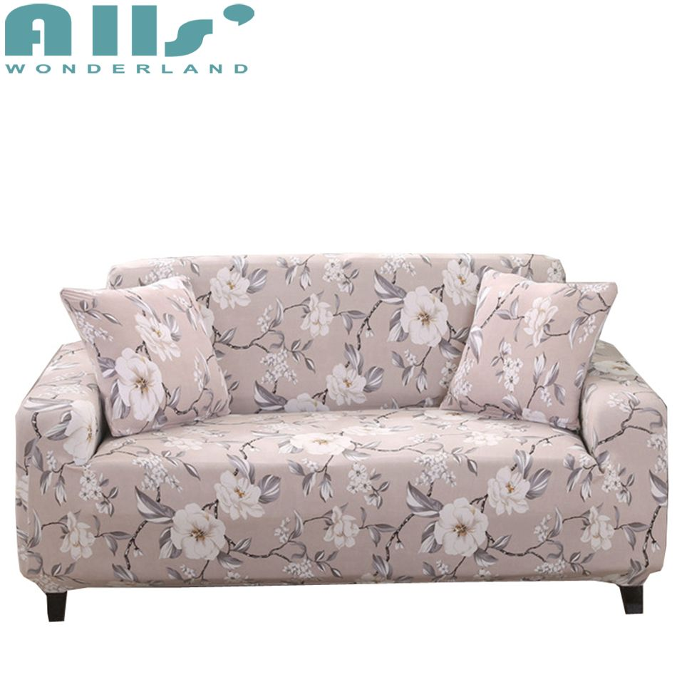 Universal Stretch Sofa Covers With White Flower Patterns Sofa Seat Cover Modern Design Sofa Slipcover Furniture Pro