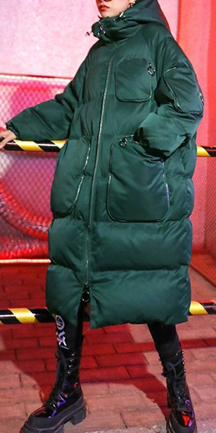 Luxury green winter parkas Loose fitting snow jack