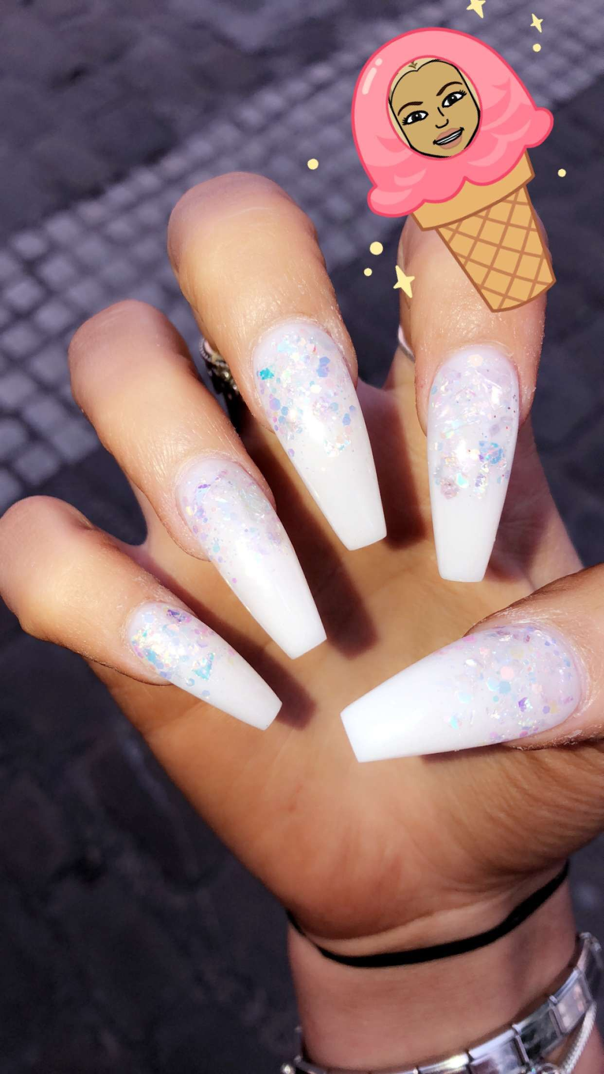 White Acrylic Coffin Sparkle Flake Gem Baddie Nails White Acrylic Nails Acrylic Nail Designs Acrylic Nail Designs Coffin