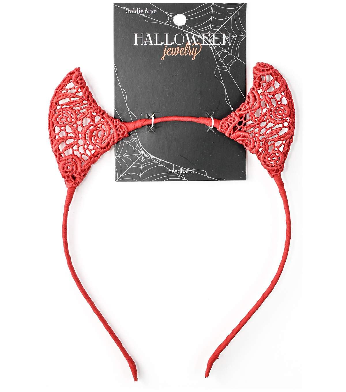 Red and Black Lace Devil Horns on Headband One Size Fits Most