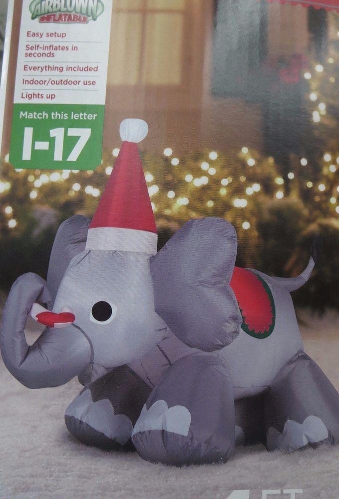 gemmy airblown inflatable christmas elephant 4 outdoor yard decor w santa hat gemmyairblown - Christmas Elephant Outdoor Decoration