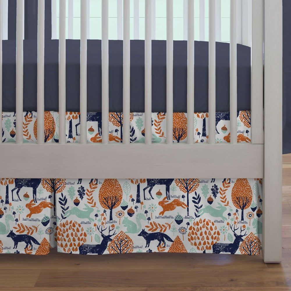 Crib Dust Ruffle In Navy And Orange Woodland By Carousel Designs Think Outside The Box