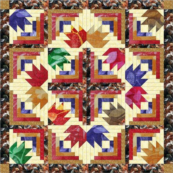 Diamond Batik Leaves/Quilt Kit, Precut Ready to Sew   Leaves ... : patchwork quilt kits pre cut - Adamdwight.com