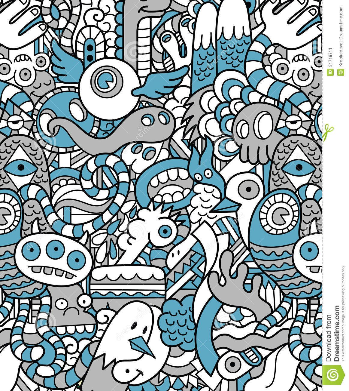 Seamless hipster doodle monster pattern pattern love in - Doodle desktop wallpaper ...