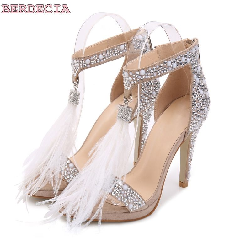 d3ba9ac62ec Delicate white feathers high heel sandals female summer 2017 women shoes  wedding crystal shoes party bridal concise sandals-in Women s Sandals from  Shoes on ...