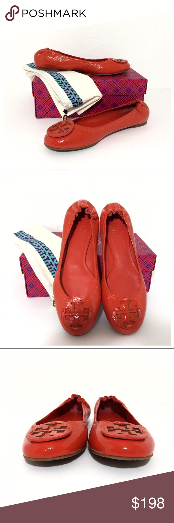 10559a446ea030 NIB Tory Burch Tumbled Patent Leather Reva Flats Brand new authentic Tory  Burch Flaming Red
