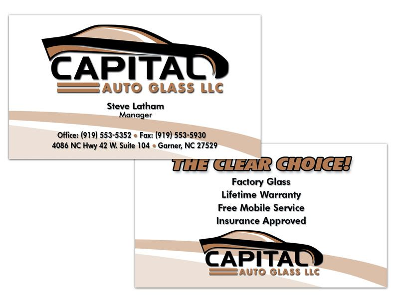 Capital Auto Glass Double Sided Business Card Double Sided Business Cards Business Card Design Auto Glass