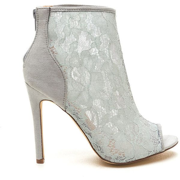 dd354a33a4b4 Lace Winner Faux Suede Booties GREY ( 31) ❤ liked on Polyvore featuring  shoes