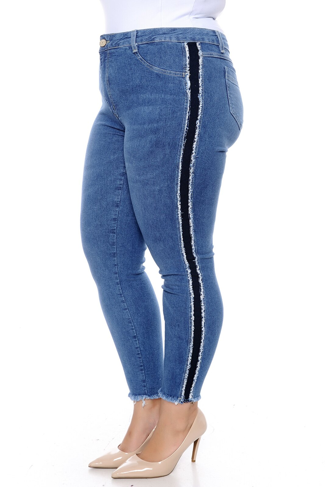 Calça Cambos Jeans Plus Size Cropped Sport Azul   Plus size