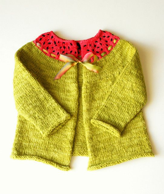 A whimsical little cardigan that is simple and fun to work up. This sweater is worked in one piece from the bottom up with no seaming!