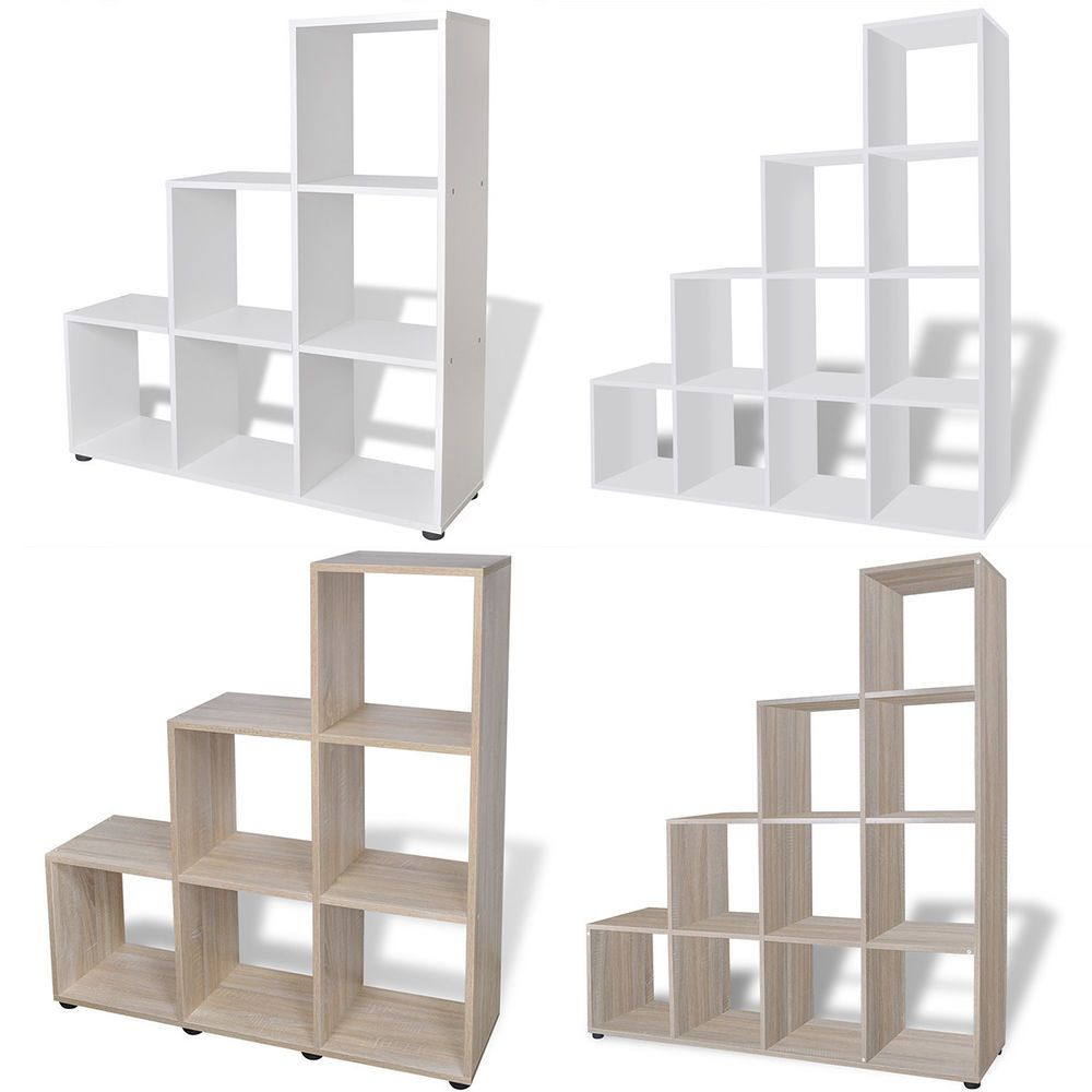Staircase Bookcase Bookshelf Display Storage Box Unit Cubes White Oak 2 Sizes Understairs Storage Staircase Storage Bookshelves