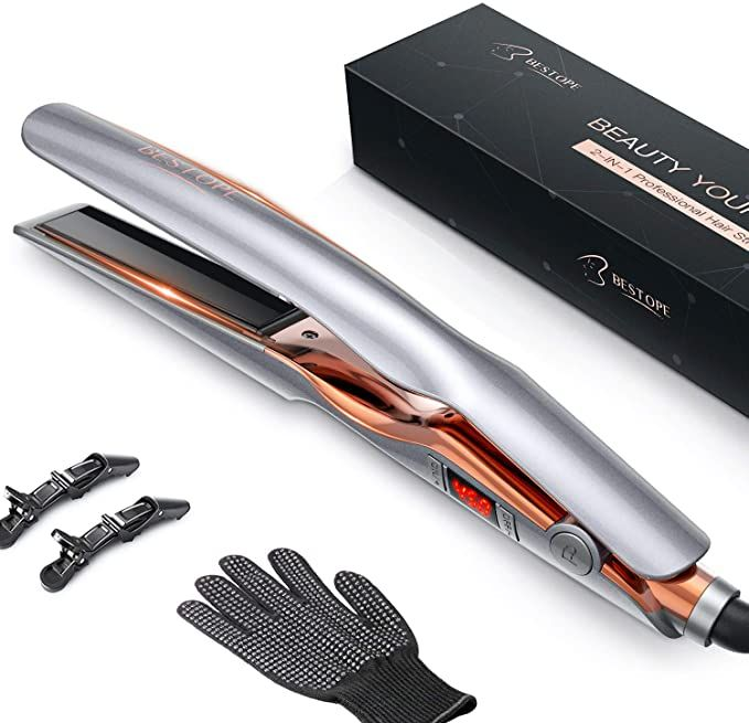 BESTOPE Hair Straightener and Curler 2 in 1,Professional Ceramic Flat Iron Hair Iron with Adjustable Temp LCD 265°F 450°F,Anti Frizz, Instant Heat Up,Detachable Cord,Dual Voltage,Auto Off,1 InchGrey   United States Gallery