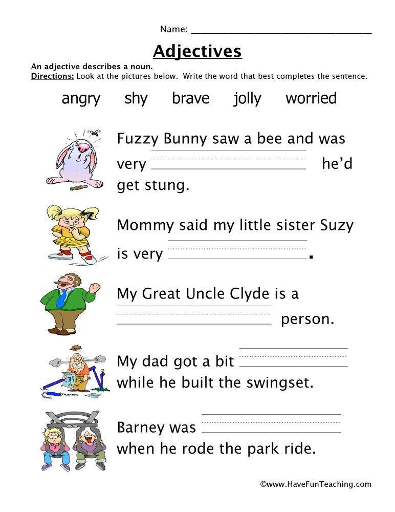 Adjectives Feelings Worksheet Adjective Worksheet Kindergarten Worksheets Printable Teaching Adjectives