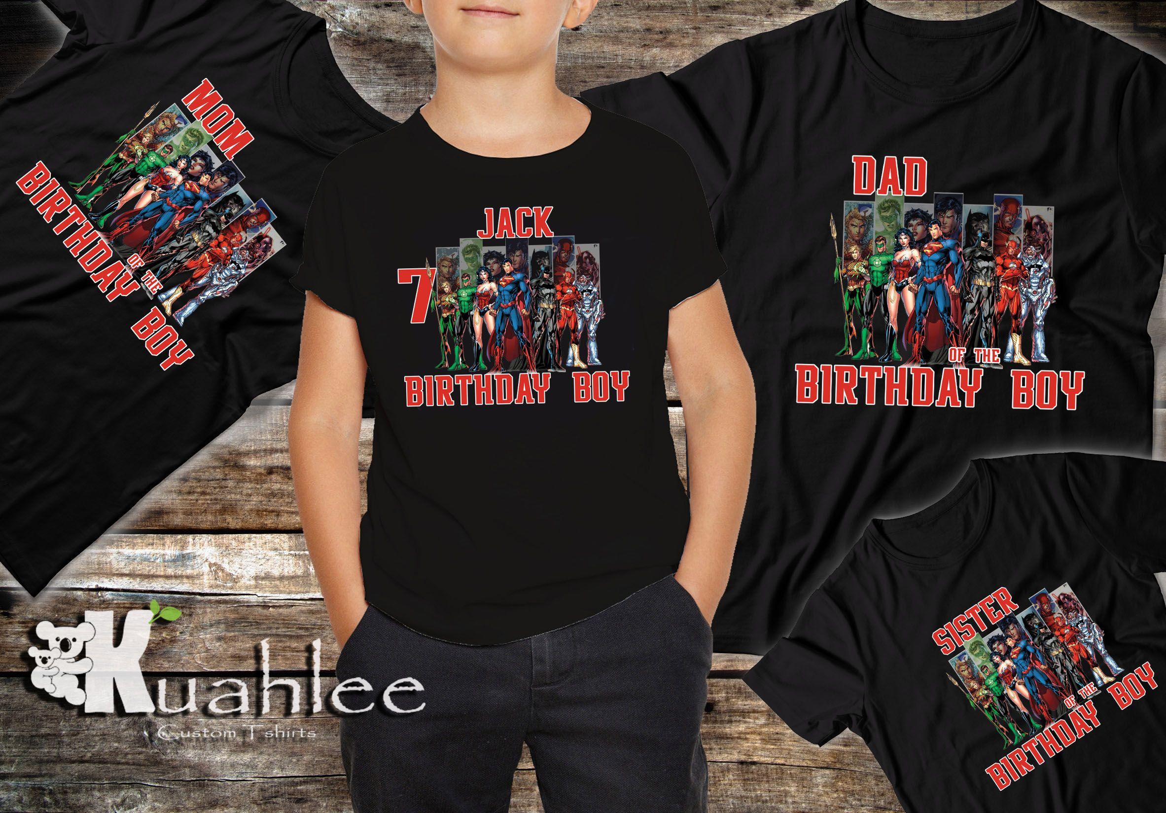 Justice League Birthday Party Theme Shirt Tee Batman Superman Hero Ideas