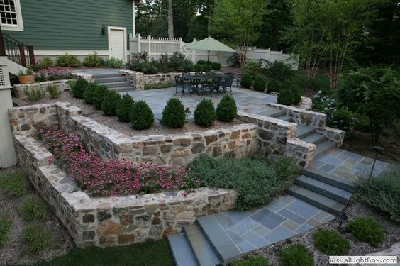 Delightful Raised Bluestone Patio With Boxwood Hedge And Fieldstone Retaining .