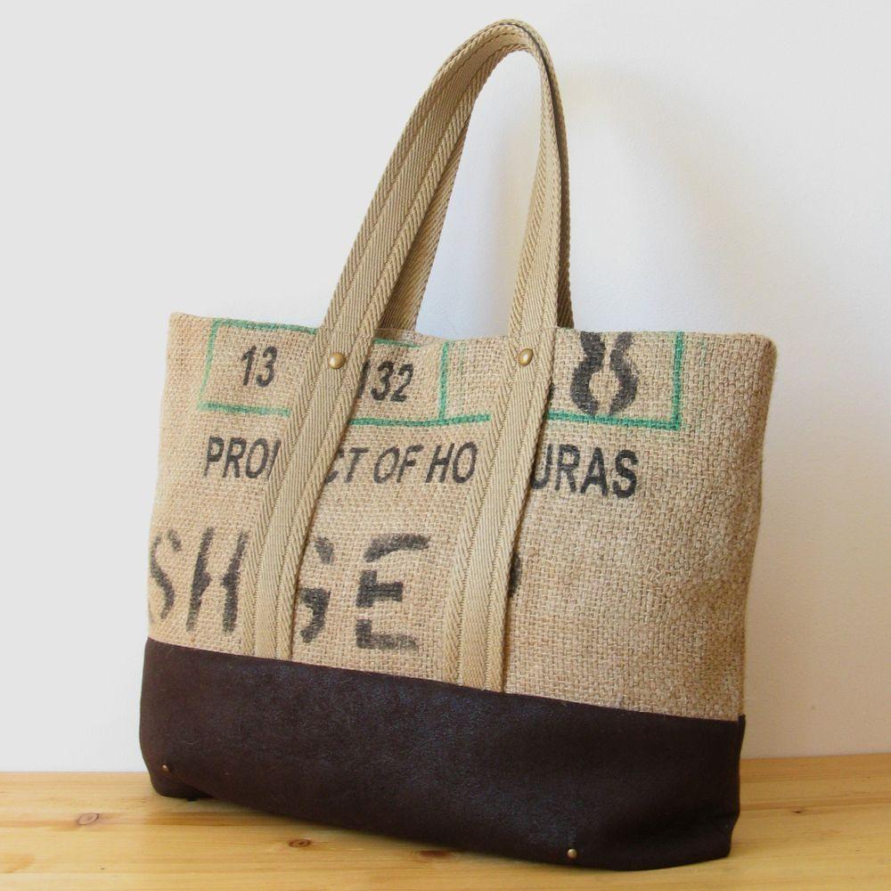 OJALÁ | Burlap&Suede Tote Bag.    Bolso grande de arpillera y antelina confeccionado artesanalmente. Large handmade burlap & suede tote bag.  #totebag #repurposed #coffeesack #jute #burlap