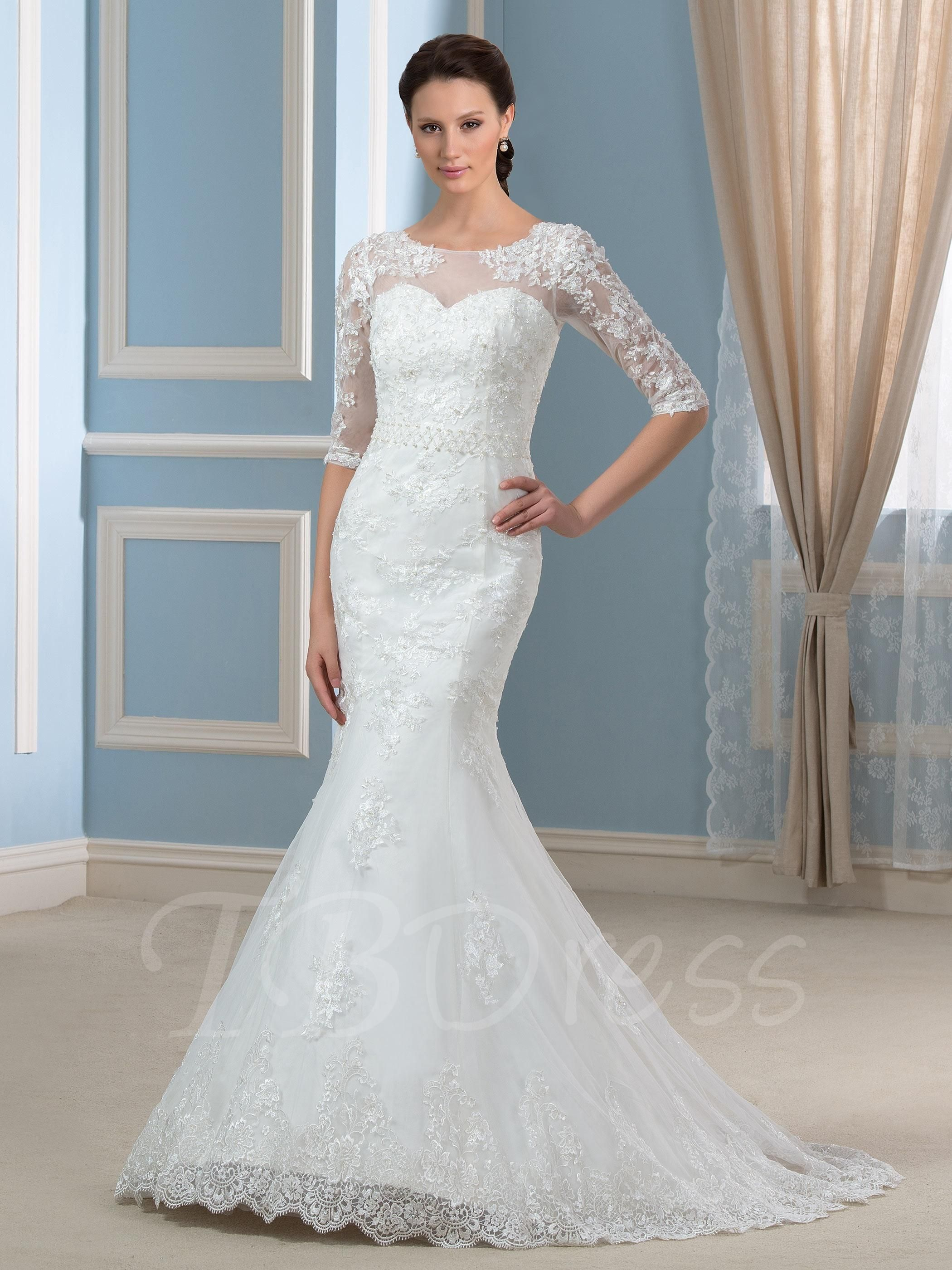 Bfcm Cybermonday Tbdress Tbdress Modest Half Sleeves Beading Lace Court Train Trumpe Court Train Wedding Dress Lace Mermaid Wedding Dress Wedding Dresses [ 2800 x 2100 Pixel ]