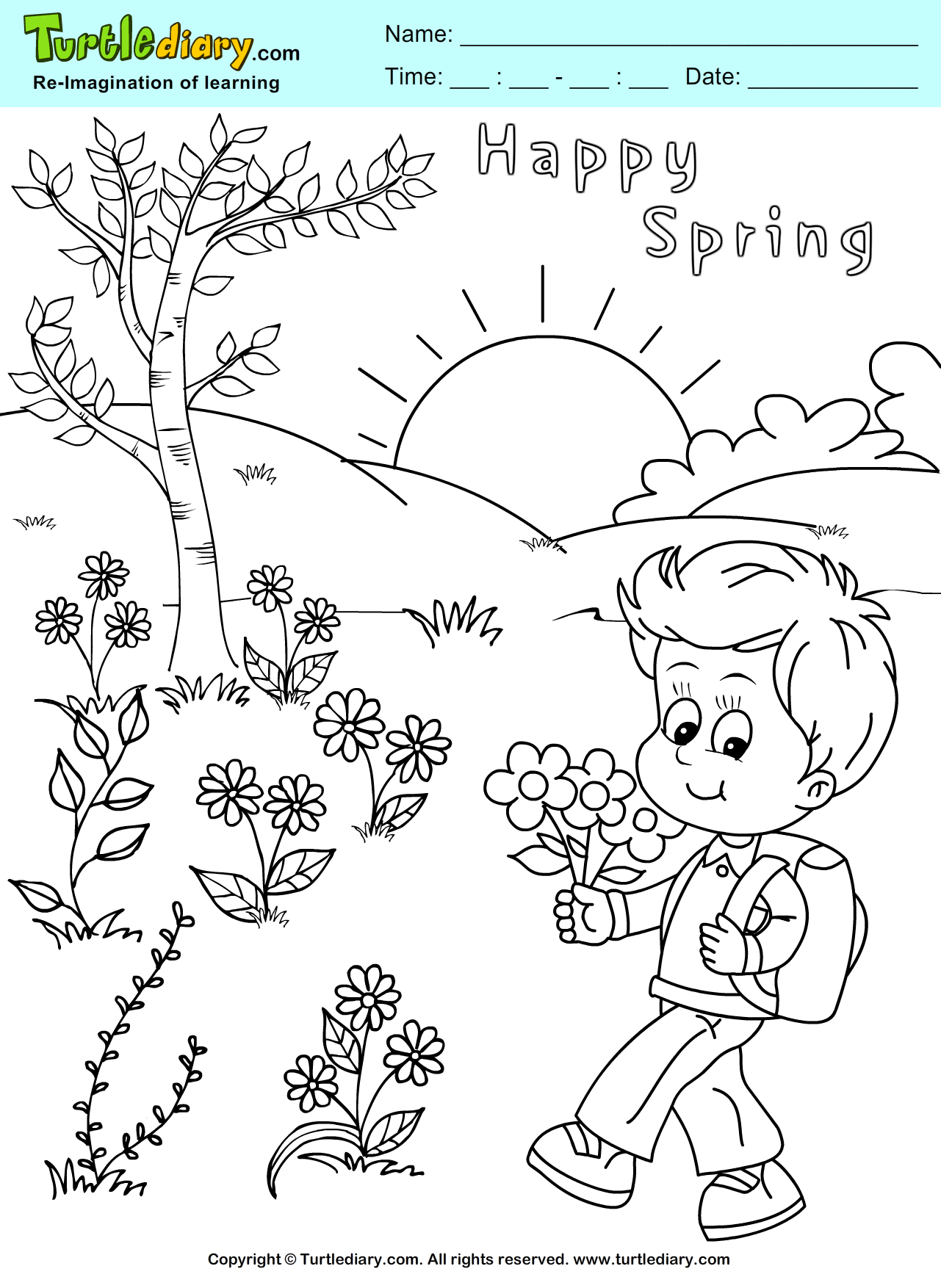 Happy Spring Coloring Page Kids Crafts Coloring