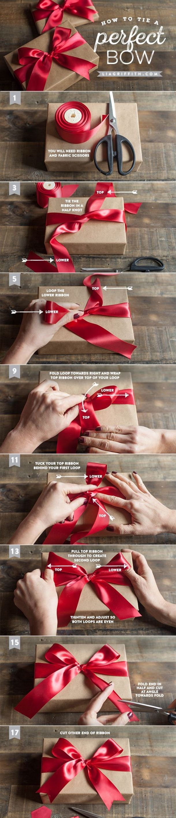 Here is a video and image tutorial showing you how to tie a perfect bow. These gift bows are perfect for Christmas or any occasion that calls for gift wrapping.