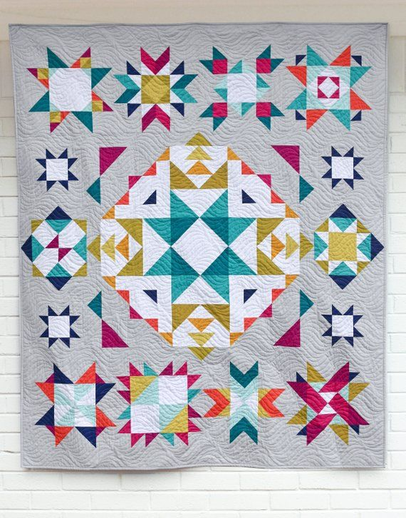 Perfect Hst Bom Block Of The Month Program Etsy In 2020 Half Square Triangle Quilts Quilt Blocks Triangle Quilt