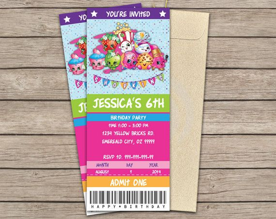 Shopkins Ticket Invitation Birthday Party Invitation Printable