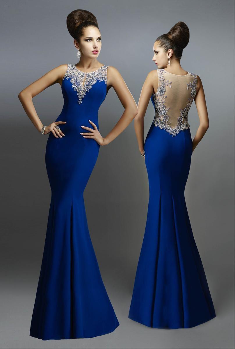 Sexy see through mermaid evening dresses long blue elegant party
