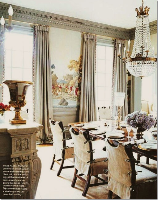 Suzanne Kasler Love How She Managed To Make This VERY Formal Room Seem Slightly Less The Wallpaper Dining Chair Covers And Chandelier