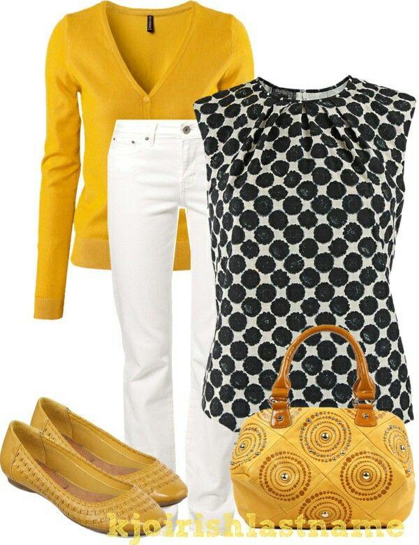 Outfit Ideas! Yellow, black and white! Would you wear it? // Combinacion de ropa, amarillo, negro y blanco. ¿Lo usarias?