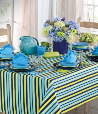 Fiesta Calypso Stripe Turquoise Table Linens | Dillards.com