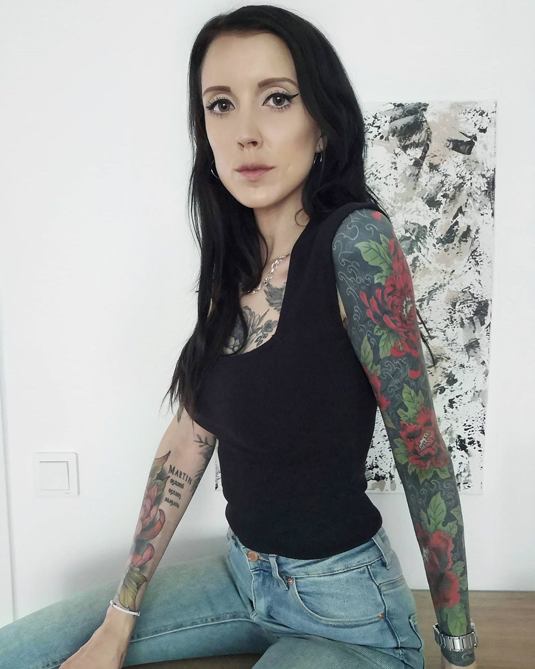 """𝙼𝙰𝙳𝙴𝙻𝙴𝙸𝙽𝙴 on Instagram: """"𝚆𝚊𝚒𝚝𝚒𝚗𝚐 𝚘𝚗 𝚝𝚑𝚘𝚜𝚎 happy 𝚍𝚊𝚢𝚜 𝚝𝚘 𝚌𝚘𝚖𝚎 𝚋𝚊𝚌𝚔 🥀 . . . . . . . . . . . . . #happyday #inkstagram #tattoosleeve #flowertattoo #depression…"""""""