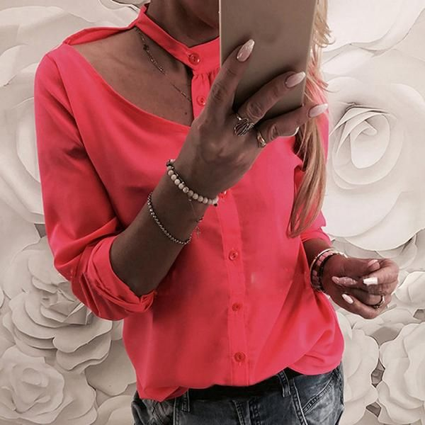 687eb503b33e29 Autumn Femininas Sexy Cut Out White Shirts Halter Women Blouses Blusas  Spring Solid Long Sleeve Buttons