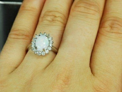 Custom Made Engagement Ring - 1.2 Carat Opal Ring With Diamonds In 14k White Gold