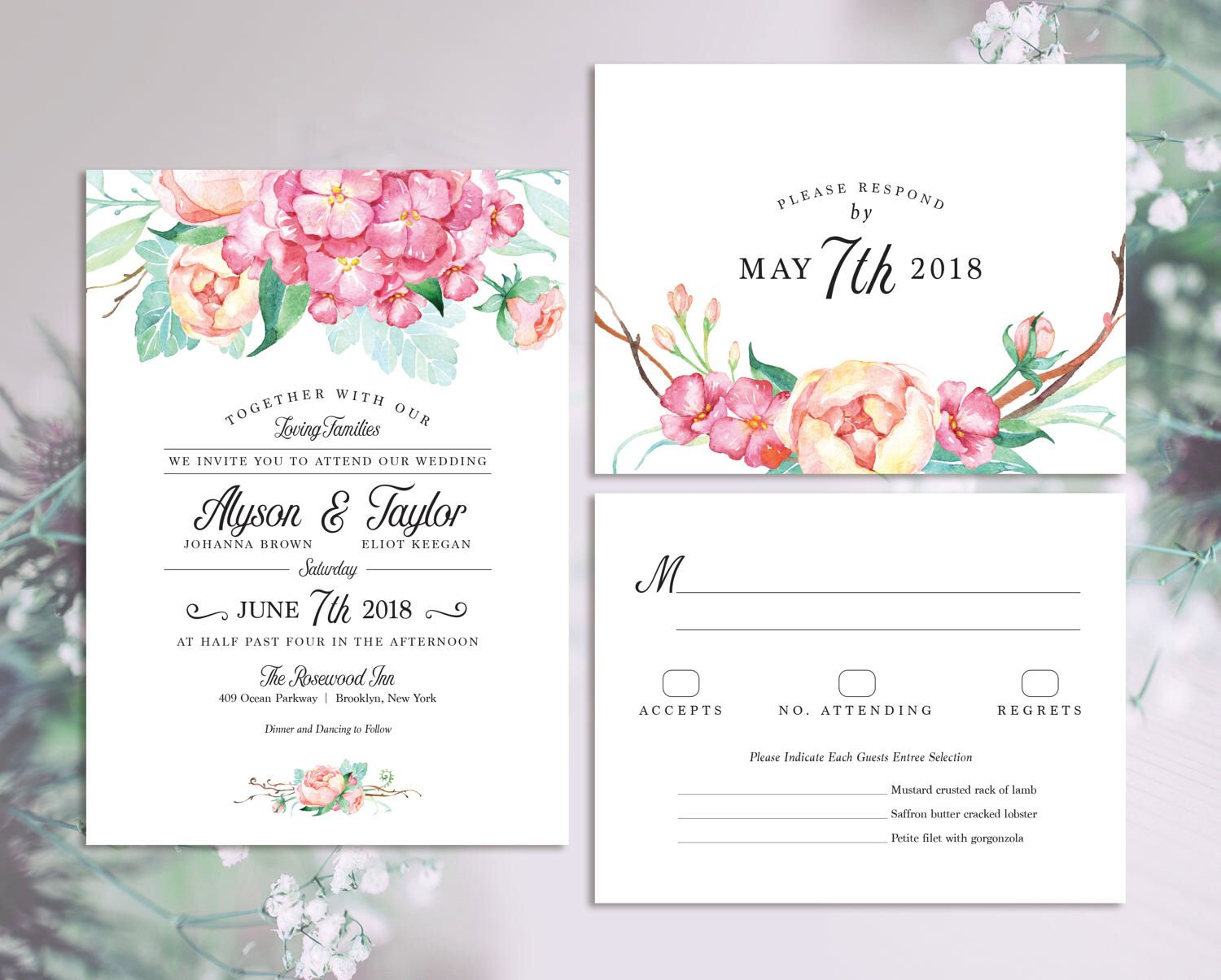 Blush Mint and Pink Floral Wedding Invitation Set, Modern Watercolor ...