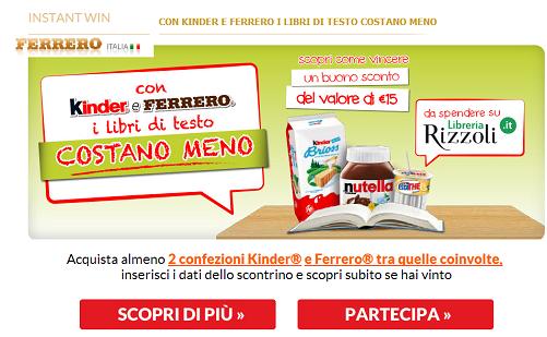 Buono sconto libri di testo con Ferrero - http://www.omaggiomania.com/concorsi-instant-win/sconto-libri-testo-ferrero/