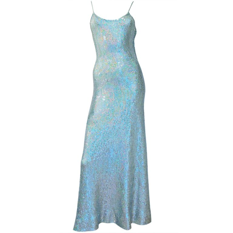 6d33b5446e4 1stdibs - Stunning and Rare HALSTON Seafoam Sequin Disco Gown explore items  from 1