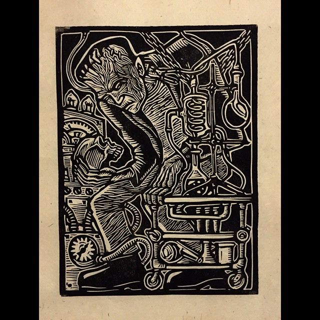 Frankenstein #linocut #printmaking #frankenstein #universal #movie #monsters #boriskarloff #jameswhale #maryshelley #laboratory #attacktheplanet