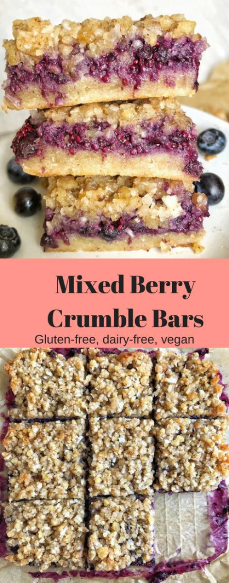Berry Crumble Bars (Gluten-free, dairy-free, vegan #dairyfree