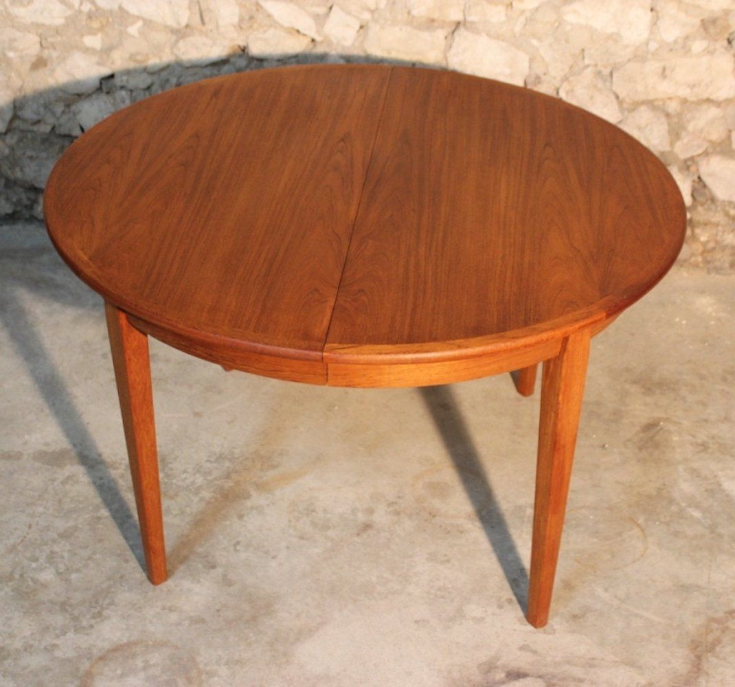 For Sale Large Extendable Round Vintage Teak Danish Dining Table