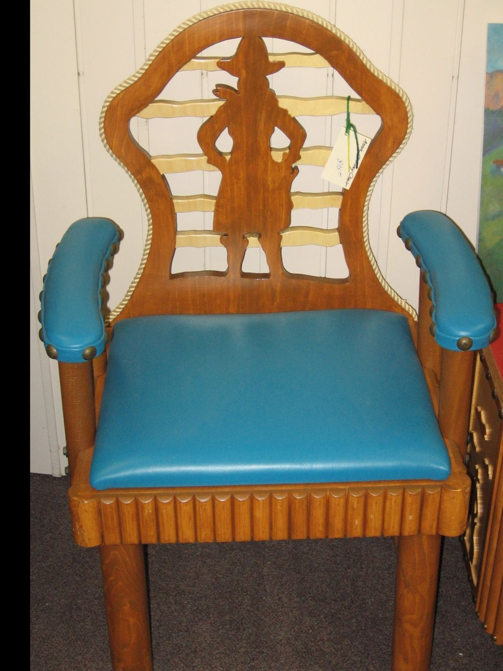 MOLESWORTH ANNIE OAKLEY ARM CHAIR, TURQUOISE LEATHER | T M Cowboy .
