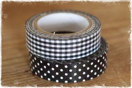 5 meter fabric tape - zwart met witte stippen (1,5cm) #fabrictape