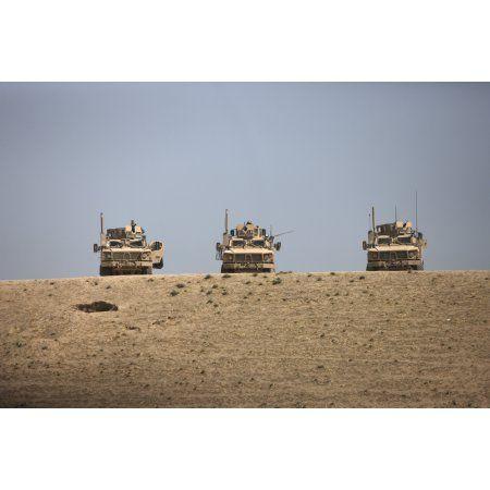 Three M-ATVs guard the top of the wadi near Kunduz Afghanistan Canvas Art - Terry MooreStocktrek Images (35 x 24)