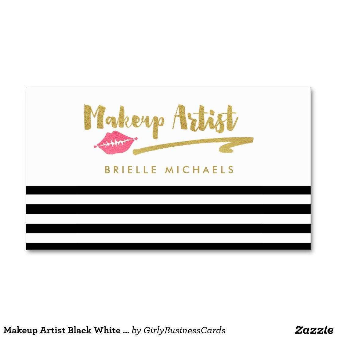 Makeup artist black white stripes with pink lips business card make a statement as a modern makeup artist with these trendy black and white striped cosmetology business cards with writing in elegant gold foil and a reheart Gallery
