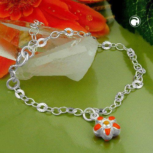 Armband Fantasie Anker Blume Silber 925 14cm accessorize24-111024-14